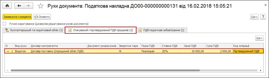 Рисунок 11 – движения документа «Налоговая накладная» по регистру накопления «Ожидаемый и подтвержденный НДС продаж»