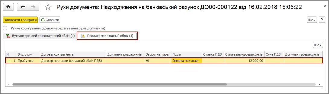 Рисунок 21 – движения документа «Поступление на банковский счет» по регистру накопления «Продажи налоговый учет» при сложном учете НДС