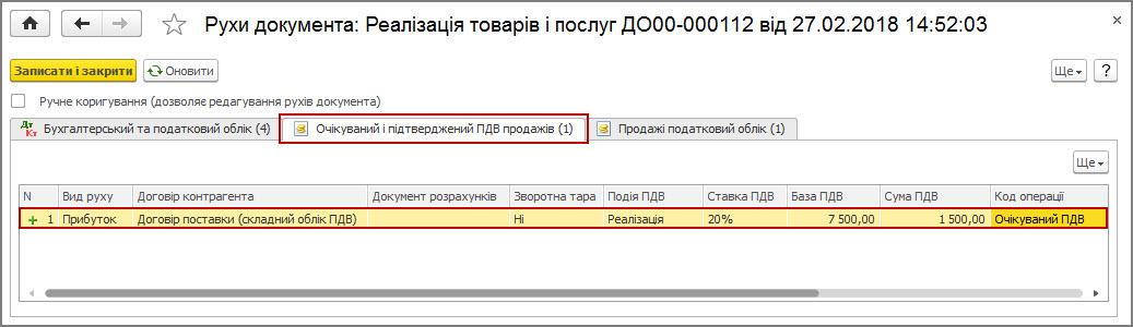 Рисунок 25 – движения документа «Реализация товаров и услуг» по регистру накопления «Ожидаемый и подтвержденный НДС продаж» при сложном учете НДС
